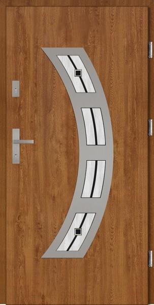 Drzwi wejściowe zewnętrzne złoty dąb ramka INOX Ricardo DIP 56 mm