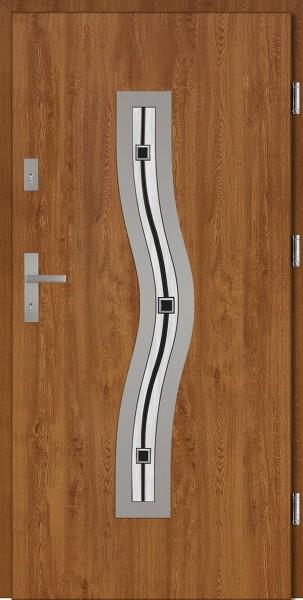 Drzwi wejściowe zewnętrzne złoty dąb ramka INOX Rino DIP 56 mm