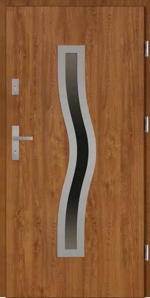 Drzwi wejściowe zewnętrzne złoty dąb ramka INOX Rino 56 mm