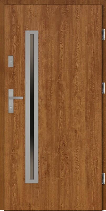 Drzwi wejściowe zewnętrzne złoty dąb ramka INOX Paolo Uno 56 mm