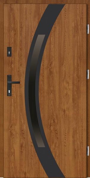 Drzwi wejściowe zewnętrzne złoty dąb ramka NERO Luciano Uno 56 mm