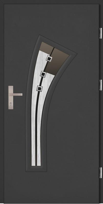 Drzwi zewnętrzne wejściowe antracyt PCV VETRO DIP 68 mm
