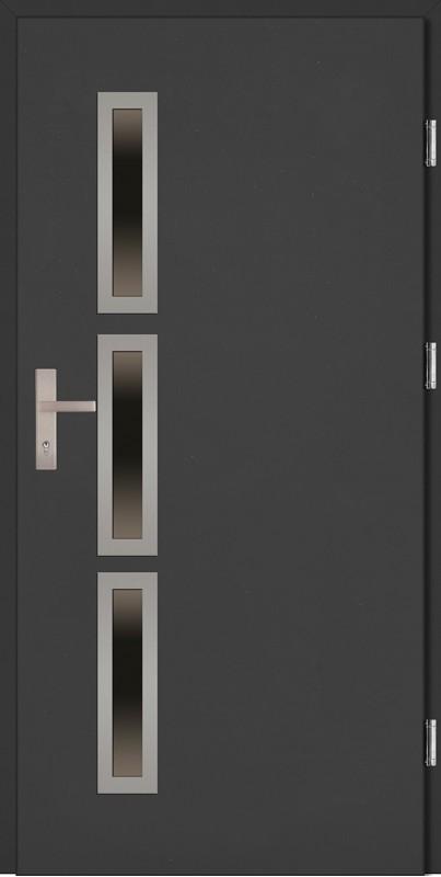 Drzwi zewnętrzne wejściowe antracyt INOX Valentino Uno 68 mm