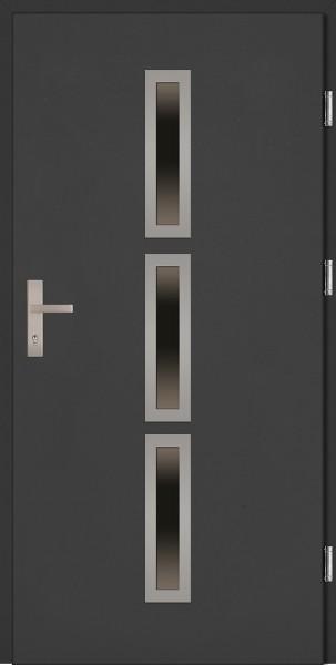 Drzwi zewnętrzne wejściowe antracyt INOX Valentino 68 mm