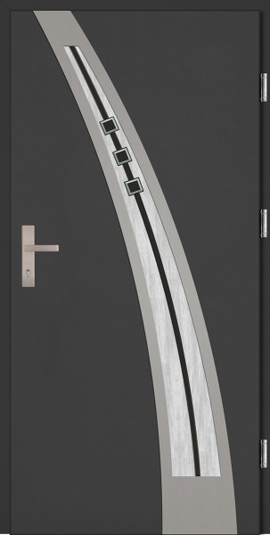Drzwi zewnętrzne wejściowe antracyt INOX Enrico DIP 68 mm