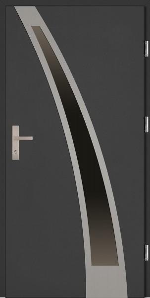 Drzwi zewnętrzne wejściowe antracyt INOX Enrico Plus 68 mm