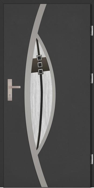 Drzwi zewnętrzne wejściowe antracyt INOX Lorenzo DIP 68 mm