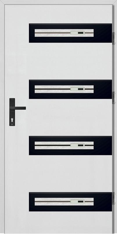 Drzwi zewnętrzne wejściowe białe Francesco Step 68 mm