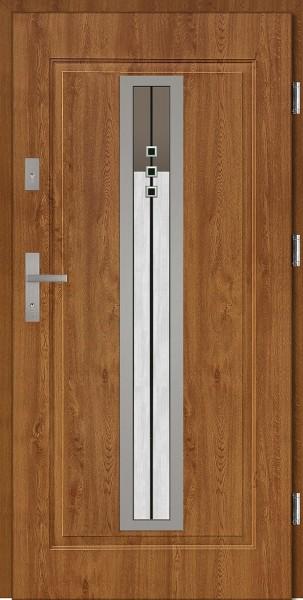 Drzwi wejściowe stalowe złoty dąb INOX Diego DIP 68 mm