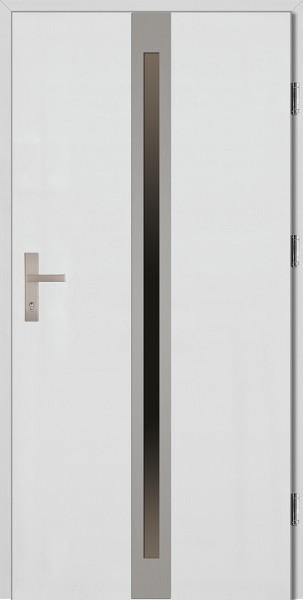 Drzwi wejściowe białe ramka INOX Marcello