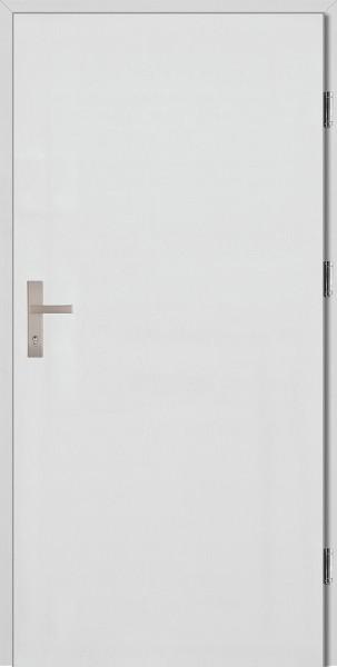 Drzwi wejściowe białe klamka INOX Pełne Plus