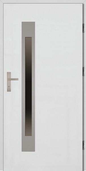 Drzwi wejściowe białe ramka INOX Fabio Uno Plus