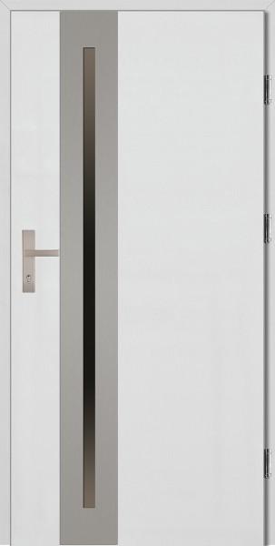 Drzwi wejściowe białe ramka INOX Matteo Uno Plus
