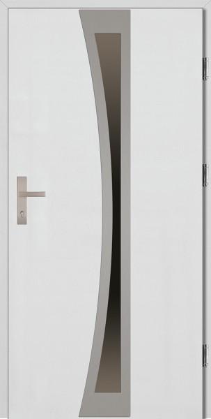 Drzwi wejściowe białe ramka INOX Ivo Plus