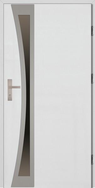 Drzwi wejściowe białe ramka INOX Ivo Uno Plus