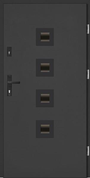 Drzwi zewnętrzne antracyt ramka NERO model Carlo