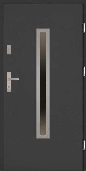 Drzwi wejściowe antracyt ramka INOX Dario Classico