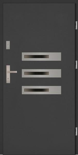Drzwi zewnętrzne wejściowe antracyt ramka INOX Armando Classico