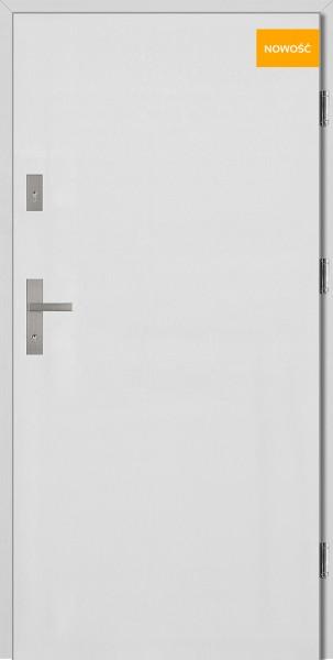 Drzwi wejściowe stalowe 90 cm białe Pełne Płaskie SETTO