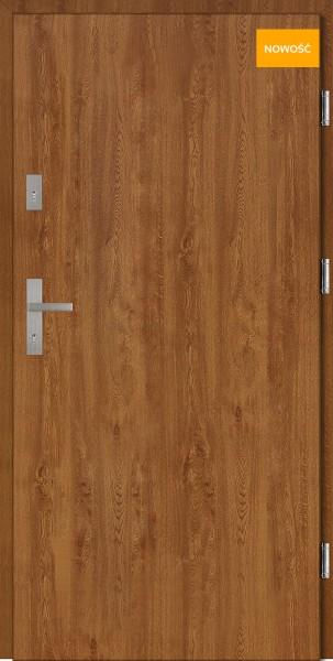 Drzwi wejściowe stalowe 90 cm złoty dąb Pełne Płaskie SETTO