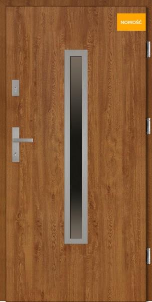 Drzwi wejściowe 90 cm złoty dąb Dario Płaskie SETTO