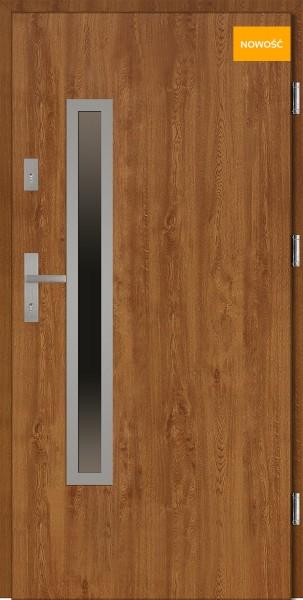 Drzwi wejściowe 90 cm złoty dąb Dario Uno Płaskie SETTO