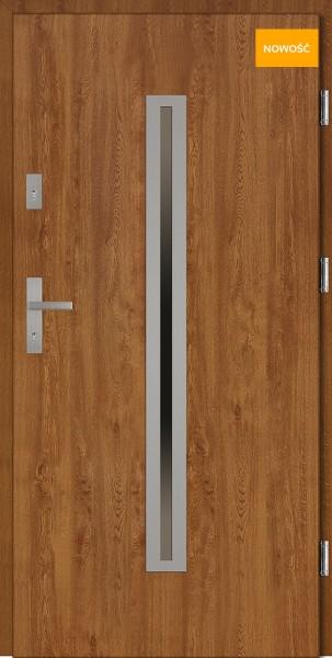 Drzwi wejściowe 90 cm złoty dąb Paolo Płaskie SETTO