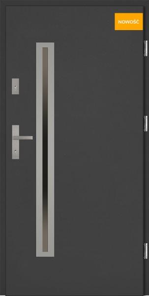 Drzwi wejściowe 90 cm antracyt Paolo Uno Płaskie SETTO