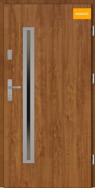 Drzwi wejściowe 90 cm złoty dąb Paolo Uno Płaskie SETTO