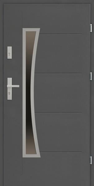Drzwi zewnętrzne 90 cm antracyt z szybą Raffaello Uno Modern