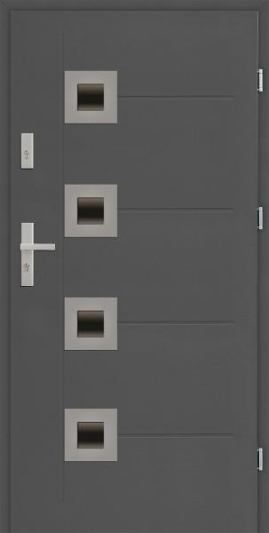 Drzwi zewnętrzne 90 cm antracyt 4 szybki Carlo Uno Modern SETTO