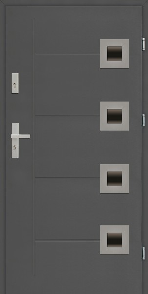 Drzwi zewnętrzne 90 cm antracyt 56 mm grubości Carlo Due Modern SETTO