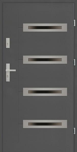 Drzwi zewnętrzne 90 cm antracyt z 4 szybami Angelo 4 Due Modern SETTO