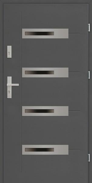 Drzwi zewnętrzne 90 cm antracyt 4 szyby Armando 4 Modern SETTO