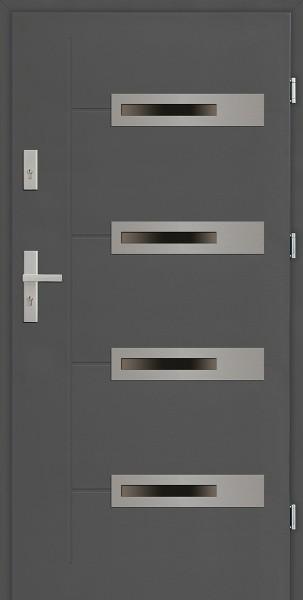 Drzwi zewnętrzne 90 cm antracyt z 4 szybami Armando 4 Due Modern SETTO