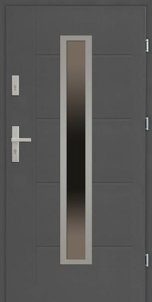 Drzwi zewnętrzne 90 cm antracyt z dużą szybą Diego Modern