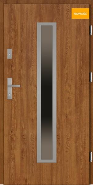 Drzwi wejściowe 90 cm złoty dąb NOWOŚĆ Diego Płaskie SETTO