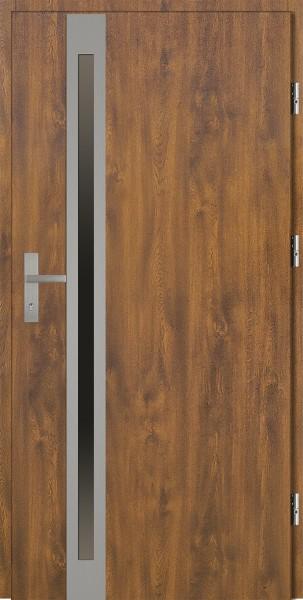Drzwi zewnętrzne złoty dąb ramka INOX Marcello Uno 92 SETTO