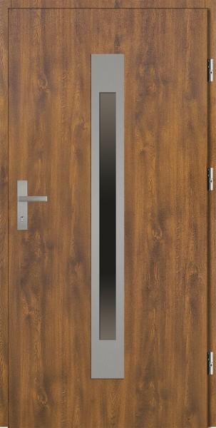 Drzwi zewnętrzne złoty dąb ramka INOX Fabio 92 SETTO