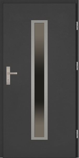 Drzwi zewnętrzne antracyt ramka INOX szyba reflex Diego 92 SETTO