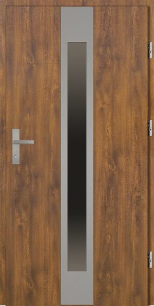 Drzwi zewnętrzne zloty dąb ramka INOX szyba reflex Sergio 92 SETTO