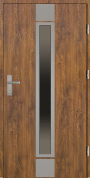 Drzwi zewnętrzne wejściowe złoty dąb ramka INOX Alfredo 92 SETTO