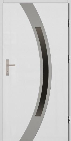 Drzwi zewnętrzne białe ramka INOX Luciano 92 SETTO