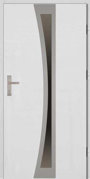 Drzwi zewnętrzne białe ramka INOX Ivo 92 SETTO