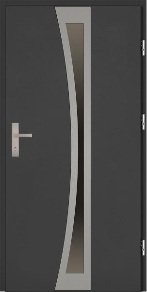 Drzwi zewnętrzne antracyt ramka INOX Ivo 92 SETTO