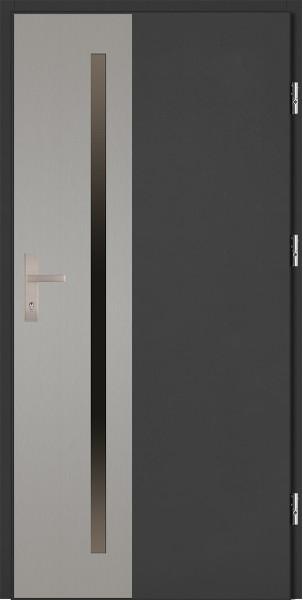 Drzwi zewnętrzne antracyt ramka INOX Augusto Uno 92 SETTO