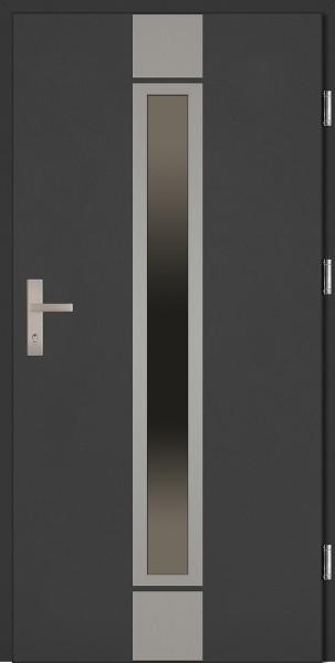Drzwi wejściowe antracyt ramka INOX Alfredo Plus Grande Plus SETTO
