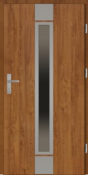 Drzwi wejściowe złoty dąb ramka INOX Alfredo Plus Grande Plus SETTO