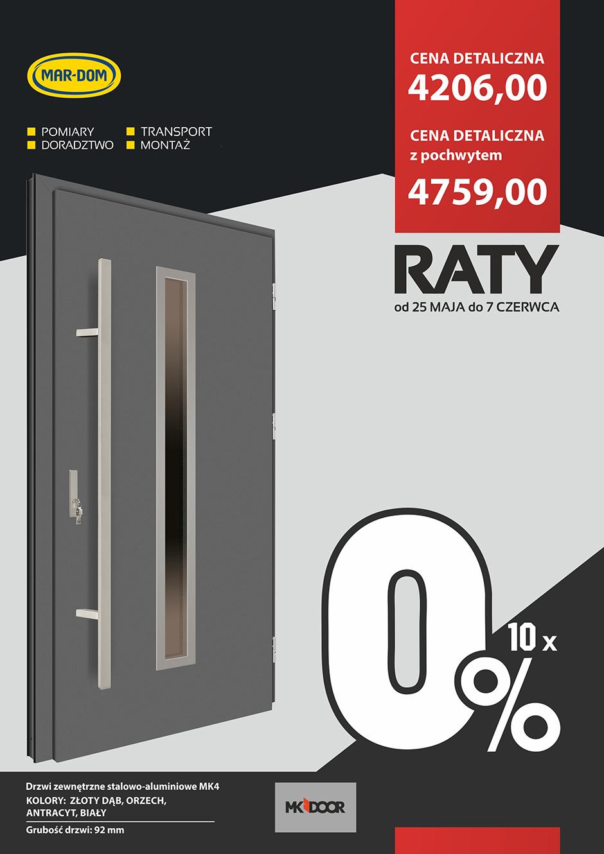 Raty 10x0% na drzwi wejściowe MK-DOOR w MAR-DOM Konin