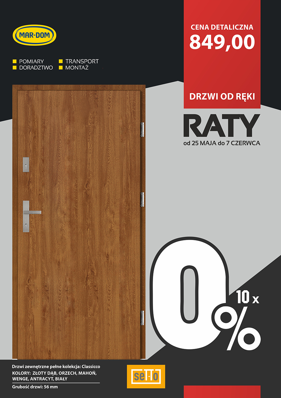 Raty 10x0% na drzwi zewnętrzne SETTO w MAR-DOM Konin